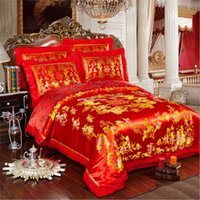 Wholesale Wedding wedding bedding Hangzhou brocade Phoenix red silk satin cotton four set