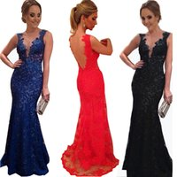 Wholesale 2016 Trumpet Mermaid Bodycon Wedding Dress Sexy Lace Deep V Neck Backless Long evening Gowns Maxi Dresses to Party Vestido