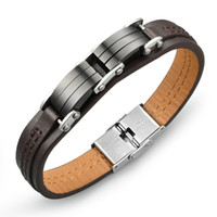 Wholesale Man s PU Leather Charm Bracelet Casual Sporty Black Stainless Steel Men s Friendship Jewelry High Quality Accessories DPH963