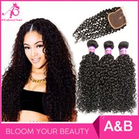 afro hair natural - Grade A Brazilian Afro kinky curly human hair bundles with lace closure Virgin hair weave natural unprocessed human hairextensions