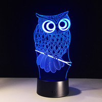 Wholesale 2017 Owl Style D Optical Illusion Lamp Night Light DC V USB AA Battery Dropshipping