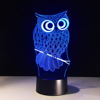 Wholesale Owl Style D Optical Illusion Lamp Night Light DC V USB AA Battery Dropshipping