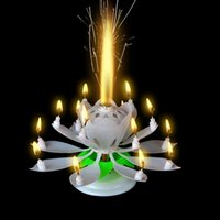 Wholesale Anleolife Music Singing Birthday Candle Musical Lotus Rotating Happy Birthday Flower Candle For Cake Decorative Candles White Color