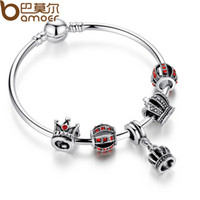 Wholesale BAMOER Simple Silver Charm Bangle Bracelet with Royal Crown Pendant Red Crystal Ball Dropshipping PA3067