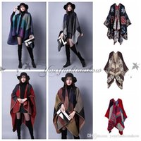 Wholesale Fedex DHL Free Fashion Imitated Cashmere Scarf Patchwork Plaid Poncho cm Women Winter Cape Wrap Shawl Blanket Cloak colors Z Shawl