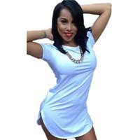 al por mayor cultivos blancas-2016 Blanco Negro Amarillo Rosa Verano estilo camiseta tops de las mujeres recortadas Short manga lateral Slit Casual camiseta larga de algodón Más tamaño