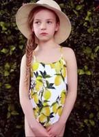 Wholesale Fashion children s swimsuit lemon printed suspender Backless Siamese swimwear for girl flowers printed swimsuit kids beach swimsuit A8711