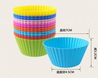 Wholesale 7cm Round Shape Silicone Muffin Cases Cake Cupcake Liner Mold Baking Mold Cake Moulds Bakeware PPA343