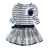 Wholesale long sleeve dresses Toddler Baby Girls Striped Dress Kids Clothes New Autum Baby Girls Long Sleeve Black White Striped Dress