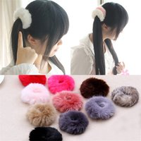 Wholesale Fuzzy Furry Artificial Rabbit Fur Faux Fur Hair Band Rope Hair Holder Wristband Hair Ring Hair Tie Ponytail Holder Hair Accessories