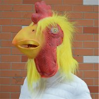 animals cock - Halloween Mask Masquerade for Adult Fashion Yellow Cock Mask Latex Full Head Animal Masquerade Carnival Party Mask Cosplay Costume