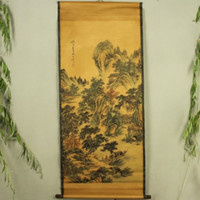 antique watercolor paintings - Exquisite Chinese Antique collection Imitation ancient Zhang Daqian landscape painting