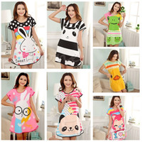 Wholesale New Women Cartoon Polka Dot Sleepwear Short Sleeve Sleepshirt Sleepdress