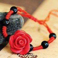 asian oriental - Romantic Beautiful Red Rose Carved Lacquerware Oriental Charming Chinese Style Bracelet Ethnic Jewelry FREE SIZE