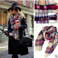 Wholesale 2016 Christmas gift Ladies Blanket Oversized Tartan Scarf Wrap Shawl woman Plaid Cozy Checked Pashmina Multi Colored autumn winter scarves