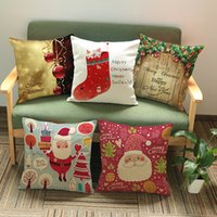 Wholesale cushion wholesalers cm Linen cotton Christmas Day patterns print Pillow Case Cushion Cover Christmas Decor Gift New