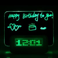 Wholesale New Hot Blue LED Fluorescent Message Board Digital Alarm Clock Calendar Night Green Blue light