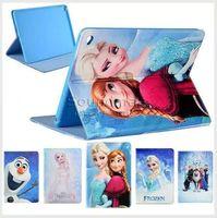 anna smart - For iPad Air mini Samsung tab T550 Frozen Elsa Anna Princess Cartoon PU Casewith Kickstand OPP BAG