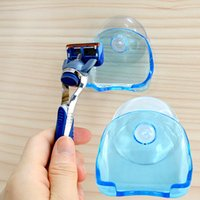 Wholesale 1pc Blue Super Clear Plastic Suction Cup Razor Rack Bathroom Shaver Storage Rack Wall Hook Razor Holder accessories home decor