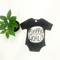 baby christmas decorations - newborn rompers hello world print geometric decoration dark gray color short sleeve baby boys girls rompers kids jumpsuits bodysuits outfits