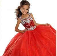 Wholesale Hot Sale New Arrival Spaghetti Straps Red Ball Gowns Girls Pageant Dress Long Gown Flower Girl Dresses Custom Made