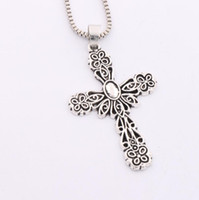 antique crucifix necklace - 2016 Antique Silver Flower Jesus Christ Crucifix Cross Religious Pendant Necklaces N444 inches Chains Jewelry
