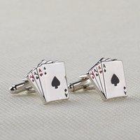 Wholesale Four A Game Poker Card Heart Cufflink Cuff Links Collar Button for women men Dress Business Suit alloy Cufflink Christmas Jewelry