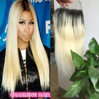 Cheap Silky straight blonde Ombre Lace Closure 1B 613 Two Tone Color straight Lace Closure dark root 2 tone