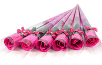 Wholesale Single Artificial Red Rose - 80pcs Free Shipping Artificial Rose Flower Single Diamond Packaging Bath Body Rose Petal flower Wedding Favors Birthday Gifts 5 Colors