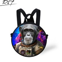 astronauts for kids - Space Series Animals Round Kids Bags Monkey Tiger Astronaut Messenger Bags Boys Girls Casual Round Bags Space Bags for Children
