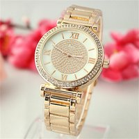 Luxury analog buttons - Floral shells surface Clock dial Rome Typeface Quartz Watches Jewelry button Design Full Steel woman Watches Hot Selling Fashion Watches