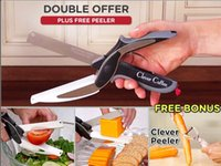 Wholesale DHL SEND Clever Cutter in Stainless Steel Kitchen Scissors with Sharp Knife Blade Cutting Board Kid Food Cutter for Meat Vegetab