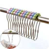Wholesale Fashion Hot Polished Candy Color Roller ball Stainless Steel Shower Curtain Rings Curtain Hooks DHL Shipping Free