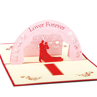 Wholesale LOVER FOREVER Red D Pop UP Greating Paper Cards For Wedding Anniversary Birthday Sets