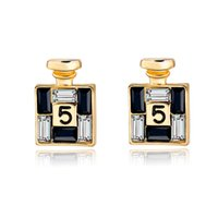 Wholesale 2016 New Arrival Bijoux Gold Channel Earrings For Women Crystal Stud Earings Famous Brand Jewelry Brincos SER150066