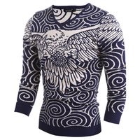 Wholesale Hot Sale Standard Sudaderas Hot Sale Fashion Winter Men Pullovers Sweater Eagles Pattern Clouds Sweaters Mens M xxl H9018