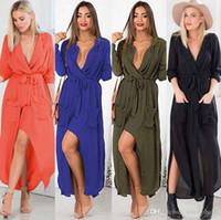 best maxi dresses - Lace dress European station Best Sellers Deep V Maxi dress New split skirt waist Linen garment sales