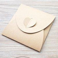 Wholesale Heart clasp Kraft paper CD DVD sleeve envelopes cd packaging