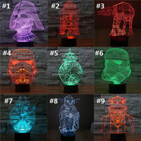 Wholesale bb8 Star Wars Superhero colorful changing visual illusion LED lamp Darth Vader Millennium Falcon toy D light action figure