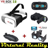 Wholesale Google cardboard VR BOX Version VR Virtual D Glasses black wireless bluetooth gamepad VR Fold pupil sight distance