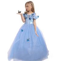 Wholesale Princess Party Costume Dress Kids Children Girls Cinderella Dress Blue Butterfly Girl Dresses Holloween Christmas Cosplay