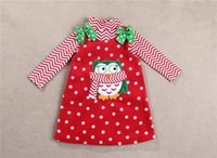 Wholesale Two piece Owl dress suit for T Girls Christmas dress sets ripple long sleeves T shirt Owls dots red sleeveless bowknot dress