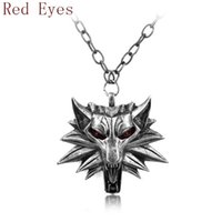 african figures - Witcher Pendant Medallion Wizard Wolf Wild Hunt Figure Game Alloy Red Eyes Wolf Necklace