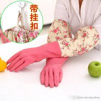 Wholesale S214 models take longer sleeves beam port housework high quality latex gloves waterproof gloves plus warm cashmere gloves