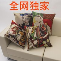 Wholesale The whole network exclusive leprosy polyester Picasso VanGhon painting abstract printing trade can be customized cushion cover