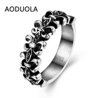 Wholesale The Individualized Punk Style Retro Ring Men s Unique Fashionable Vintage L Stainless Steel Antique Flower Jewelry Rings