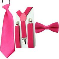 Wholesale Hug Me Set Combo Toddler Boys Suspenders Bow Tie Necktie Set Kids Wedding Party Accessories M