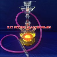 arab tube - LED Lamp Glass Bongs Arab Straight Type Smoking Durable Hookahs Glass Bong Water Pipes with Tube for Decoration KT