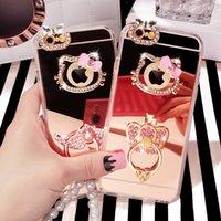 i6 además de la caja del teléfono de la lente anillo de dedo del conejo del oído del gatito del diamante del arco caso de la hebilla del montaje suave del espejo para el iPhone 6 6s plus