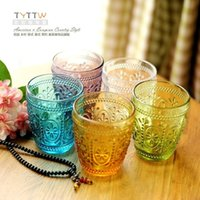 Wholesale 2015 NEW Genuine High quality European style retro embossed glass crystal glass cup cup of ice cream dessert cup